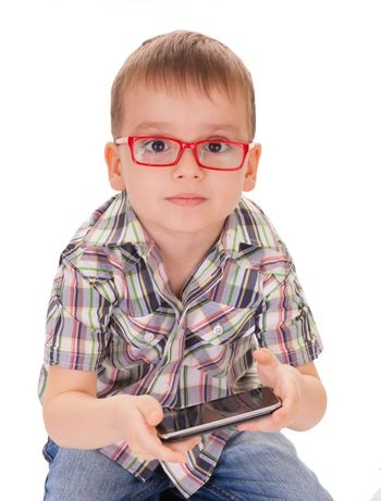 Clever kid play smart phone