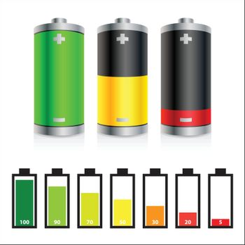 Colorful batteries icons and symbols of battery level