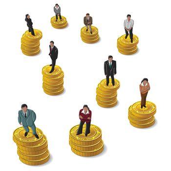Businessman, Businesswoman standing on coin US Dollar