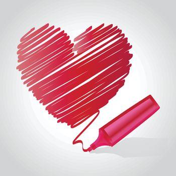 Heart drawn using a marker pen Vector illustration