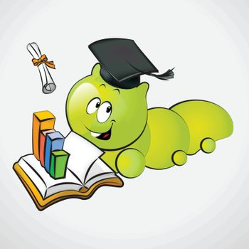 Bookworm with Graduation Cap and Holding a Diploma