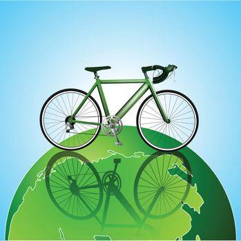Bicycle on the globe ecology background