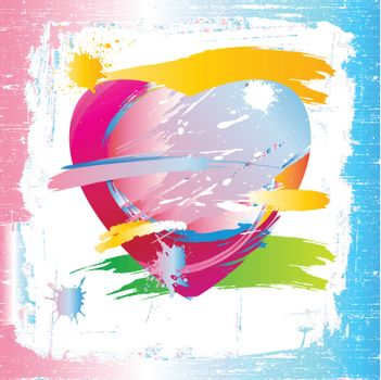Colorful heart of the painting brush