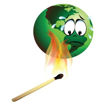 burning earth Global warming concept