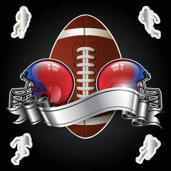 Emblem of American football with helmet on black background