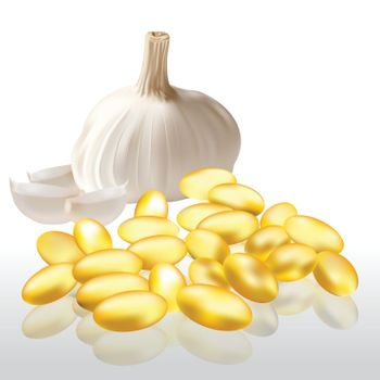 garlic oil capsules on a white background