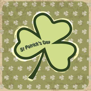 Retro Shamrock, clover design for St  Patrick s Day