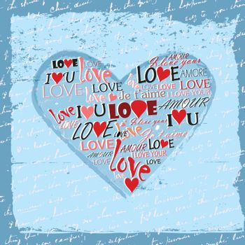 A heart made of words love in many languages with Grunge Effect
