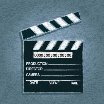 cinema clapper, Clapboard with Grunge Effect