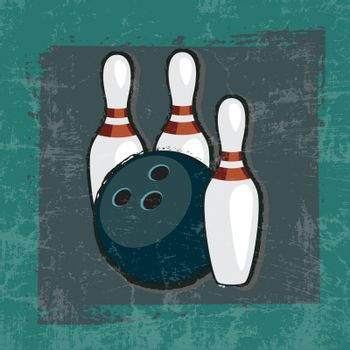 bowling ball and pins in frame with Grunge Effect