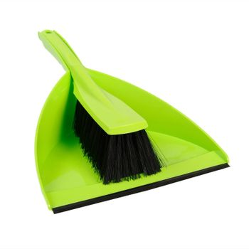 Dustpan and brush green. Isolated on white background