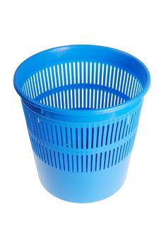 Blue wastebasket or trash can. Isolated on white background