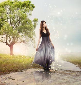 Girl at a Brook