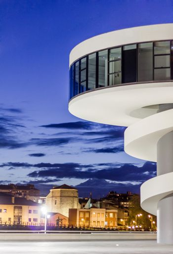 View of Niemeyer Center building, in Aviles, Spain, on April 03, 2011. The cultural center was designed by Brazilian architect Oscar Niemeyer, and was his only work in Spain