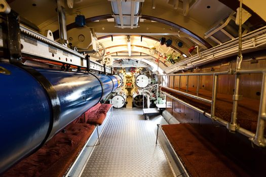 German world war 2 submarine type VIIC/41 - torpedo compartment - editorial photo