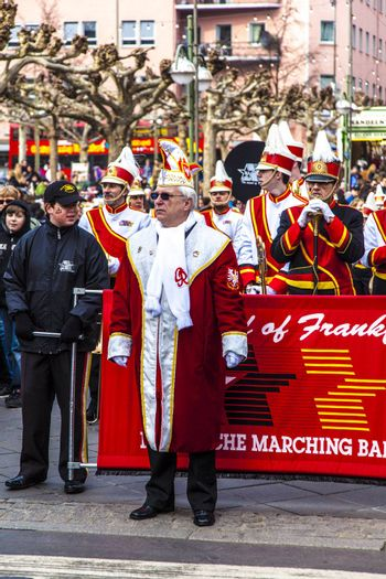 FRANKFURT, GERMANY - MARCH 5: The Carnival  Parade moves through the city on March 5, 2011 in Frankfurt, Germany. They  conquest the town hall and get the key for one day from the mayor.