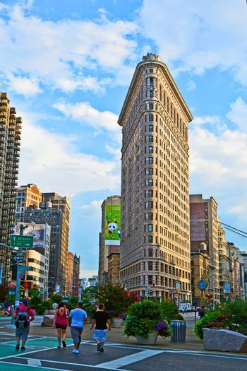 NEW YORK CITY – JULY 11: The Flatiron building in Manhattan July 11, 2010 in New York, NY. Considered a groundbreaking architectural feat, it was completed in 1902.