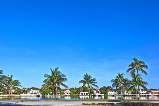 luxury houses at the canal  in Miami South, USA.