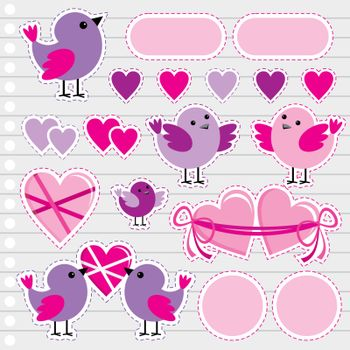 Scrapbook elements with hearts and birds on Valentine's Day.