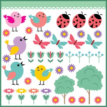 Scrapbook elements with birds and insects on a white background.