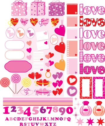 Scrapbook elements with love characters and hearts