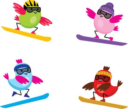 Image of cartoon birds that are engaged in skiing.