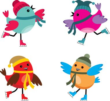 Image of cartoon birds that are engaged in skating.