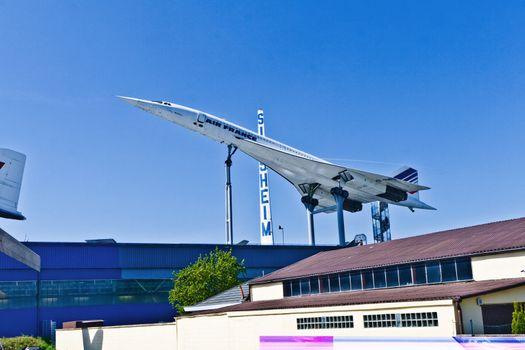 SINSHEIM, GERMANY - MAY 05: supersonic aircraft Concorde in the museum in Sinsheim  on May 05, 2008 in Sinsheim, Germany.