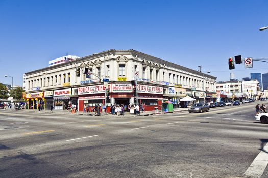 LOS ANGELES, USA - JULY 06: Midday view to the crossing in the mexican part at Langers Square on July 6, 2008 in Los Angeles, USA. Al and Jean Langer opened the Langers Daily at this place in 1947 and its still a famous institution in LA.
