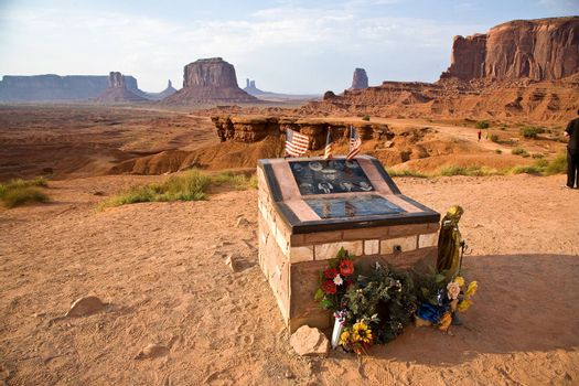 MONUMENT VALLEY, AMERICA - JULY 12:  gravestone for rememberance of soldier Clay at John Fords Place  on July 12,2008 in  Monument Valley, USA.