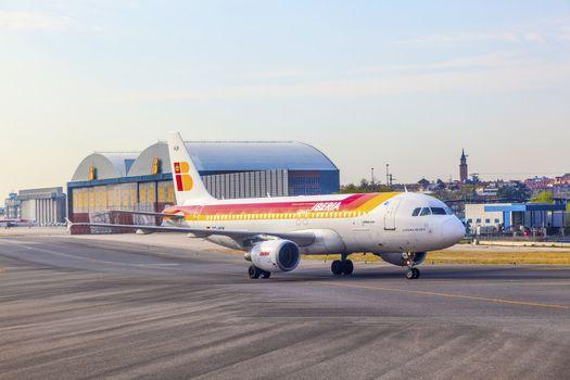 Iberia Airbus heads toward Terminal 4