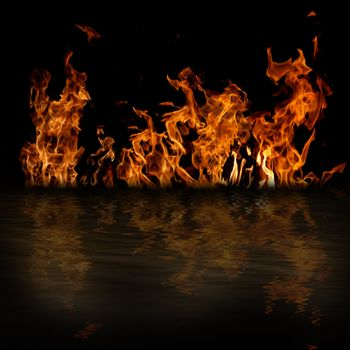 Fire with reflection