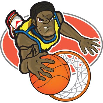 A basketball player that is putting the ball into the basket. The file is divided into grouped layers. Red circle with his border is into a different layer. Gradient used for the ball.