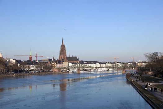 old historic bridge Eiserner Steg in Frankfurt am Main, Germany.