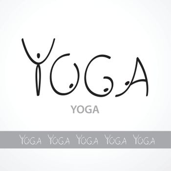 Template labels yoga, made ​​unique font in the form of letters-asana. The idea for your design. Vector inscription.