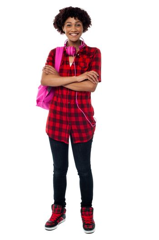Stylish university student with folded arms