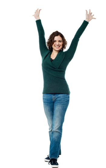 Excited victorious woman expressing success