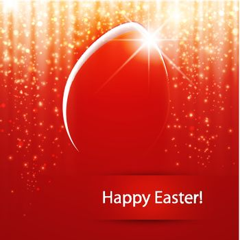 Bright Easter Red Background With Egg and Star