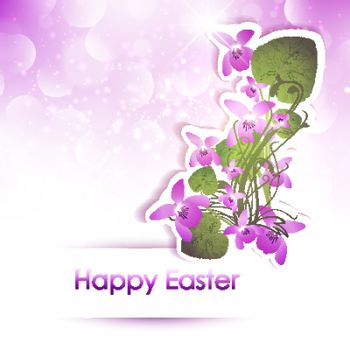 Happy Easter Greeting With Viola Flowers Over Bright Background