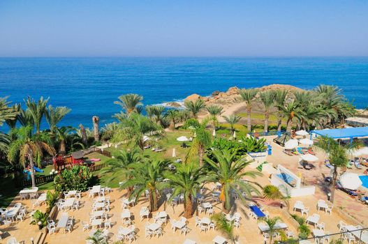View of the Mediterranean resort. Cyprus. Sea shore overlooking the hotels.
