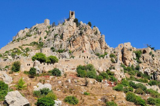 Monastery Saint Hilarion Castle on mountain in Cyprus.