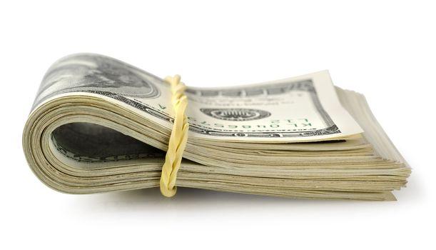 Bundle of money isolated