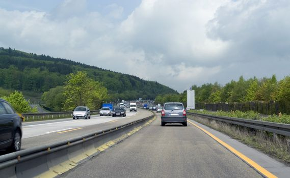 road scenery on a highway in Southern Germany at summer time