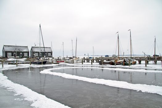 The harbor from Marken in wintertime in the Netherlands