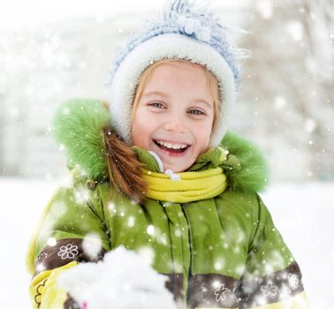 Smiling Happy little girl winter vacation