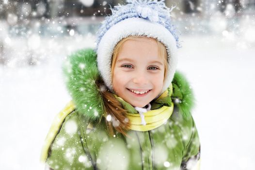 Smiling Happy little girl in winter vacation