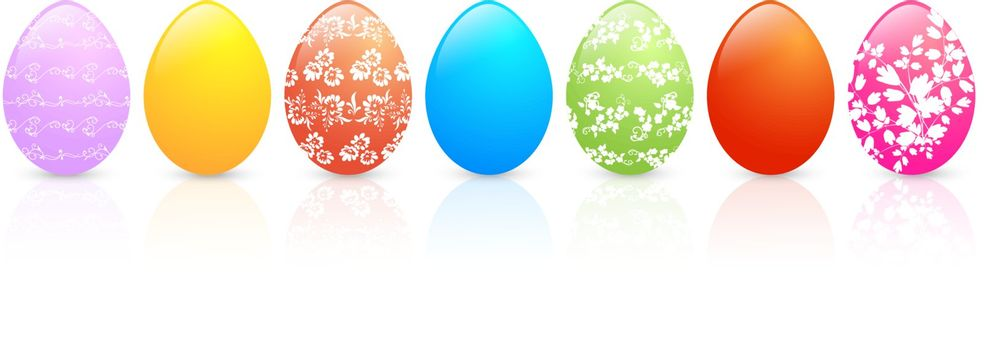 Multicolored Floral Decorated Easter Eggs Over White