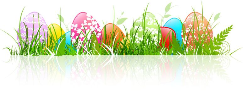Multicolored Floral Decorated Easter Eggs in Grass Over White