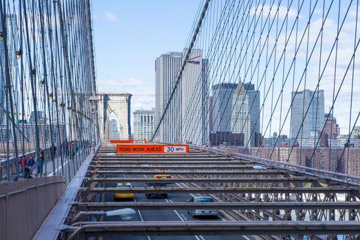 The Brooklyn bridge in New York city on November 03 2012