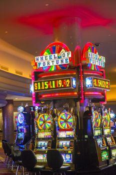 LAS VEGAS - NOVEMBER 08: Interior casino and slot machines on November 08, 2012 in Las Vegas. Las Vegas in 2012 is projected to break the all-time visitor volume record of 39-plus million visitors